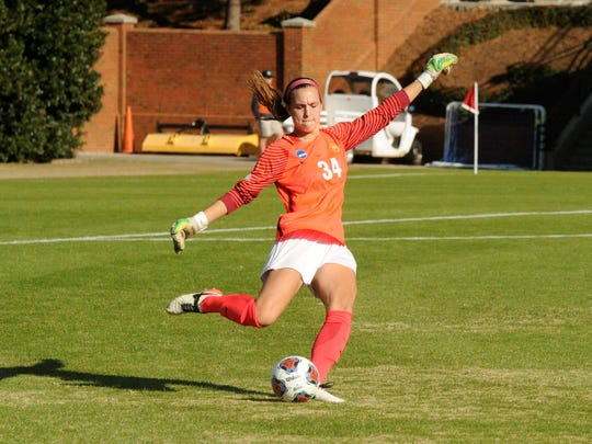 Hardin-Simmons keeper Caitlin Christiansen takes a free kick during Friday's NCAA Division III Final Four game against Williams. Christiansen made nine saves in the 1-0 loss.