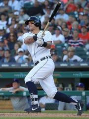 Detroit Tigers catcher James McCann hits a two run
