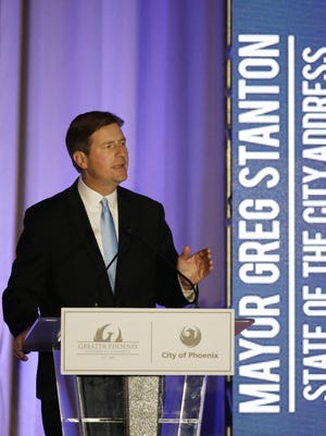 Mayor Greg Stanton delivers his fifth State of the City address at the Sheraton Grand Phoenix in Phoenix on April 19, 2016.