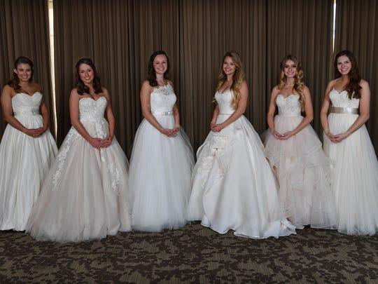 Senior-Junior Forum Debutantes 2018. From left, Abigail Hill, Shelby Davis, Caroline Presson, Peggy Holcomb, Addison Lobaugh, and Caroline Clarke.