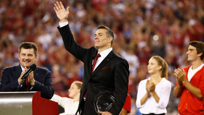 Kurt Warner was inducted into the Arizona Cardinals Ring of Honor during Monday Night Football on Sep. 8, 2014, at University of Phoenix Stadium in Glendale.