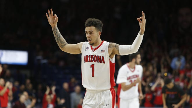 Arizona guard Gabe York reacts after scoring during the first half of an NCAA college basketball game against Boise State, Thursday, Nov. 19, 2015, in Tucson, Ariz.