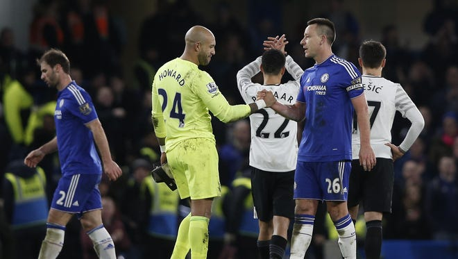 Tim Howard and John Terry shake hands after the 3-3 draw.