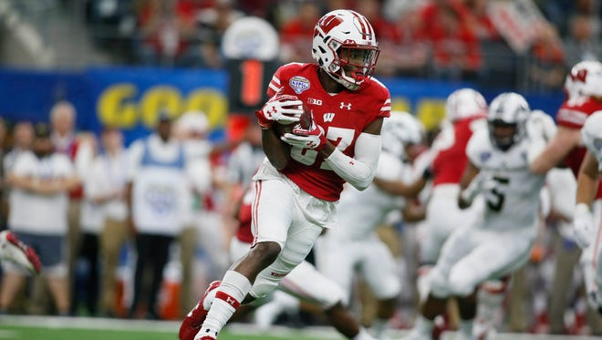 Badgers wide receiver Quintez Cephus carries the ball against Western Michigan Broncos in the Cotton Bowl last season.