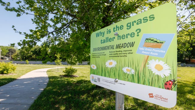 A sign explains why the grass is allowed to grow taller at Fassnight Creek located on the south side of Bennett Street, between Jefferson and Campbell Avenues, as part of the city's urban meadow program.