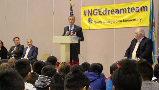 Gov. John Carney speaks at North Georgetown Elementary School about the state's English Learner Strategic Plan.