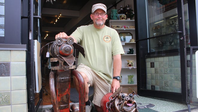 """Jon Shaeffer will be showing off his """"Junkyard Dogs"""" and other scrap metal work at the Y-Bridge Arts Festival this weekend."""
