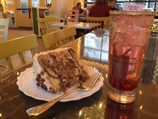 The cinnamon pecan roll layer cake and a wine cocktail