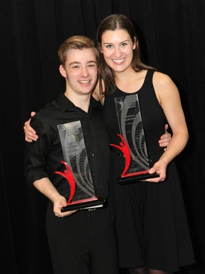 Lincoln Ginsberg, 17, of Cedar Rapids and Jessica Martens, 17, of West Des Moines won the two Triple Threat Awards at the 2015 Iowa High School Musical Theater Awards ceremony on Monday at the Des Moines Civic Center.