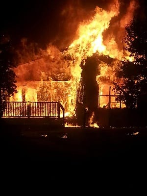 A Robeline home was a total loss late Tuesday night, torched in a fire that was raging when firefighters from Natchitoches Fire District #7 arrived, according to a release.