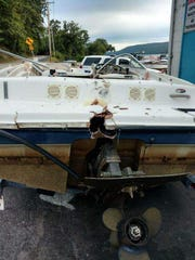 The Lanes' boat following the Labor Day 2016 accident.