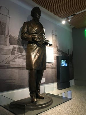 The 8-1/2-foot-tall statue of Jefferson Davis, president of the Confederacy, stood for eight decades in the South Mall of the University of Texas at Austin. It was recently removed and today is the center of an exhibit of the statue at UT's Dolph Briscoe Center for American History.