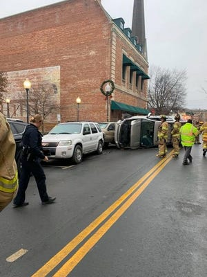 Multiple agencies responded to a five-car crash on North Street that involved one car being driven and four parked cars Sunday afternoon in Middletown. No injuries were reported.