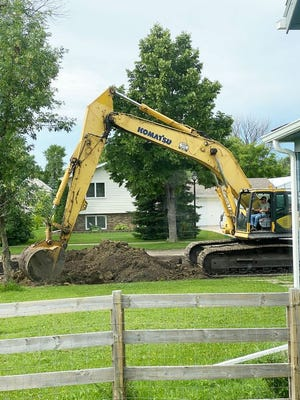 Street reconstruction on 5th Avenue South started this week with Davidson Ready Mix Construction of Holt, Minnesota, pictured here, digging up the road and laying dirt Monday and Tuesday.