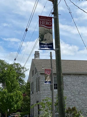 The first Hometown Hero banners honoring Greencastle-Antrim community members who have served in the armed forces were put up in May. Orders for additional banners can be placed through June 15. SHAWN HARDY/ECHO PILOT