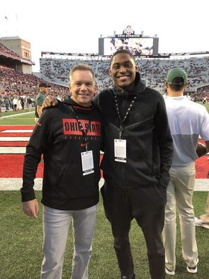 Malaki Branham, a combo guard from Akron St. Vincent-St. Mary in the class of 2021, attended the Ohio State football game Saturday night against Michigan State along with coach Chris Holtmann as part of his official visit.