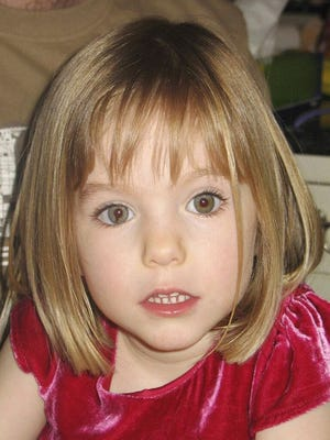 FILE - This undated file photo shows Madeleine McCann. British police said on Wednesday June 3, 2020, a German man has been identified as a suspect in the case of a 3-year-old British girl who disappeared 13 years ago while on a family holiday in Portugal.