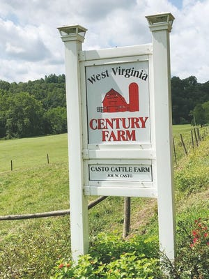This sign designates the Joe Casto cattle farm as a Century Farm. Bill Casto's farm is also a Century Farm.