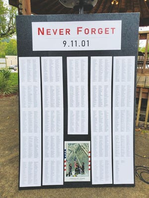 A remembrance board containing the names of those who died on 9/11.