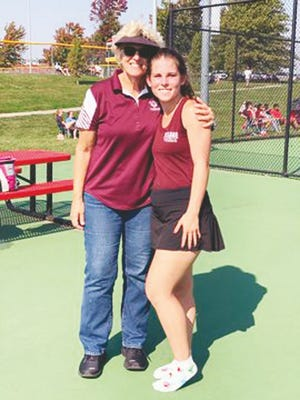 Osage state qualifier Lily Davis with Coach Ann Gulshen at sectionals in Marshall on Saturday, October 10.