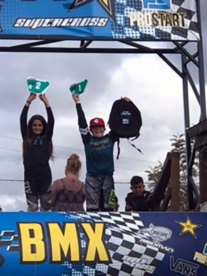 """Bronx """"Da Bomb"""" Benadom celebrates winning first place at the SoCal Grand Prix in Perris, CA, in November."""
