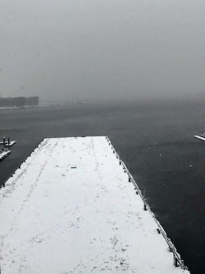 This is what the Charlestown Navy Yard looks like after a snowstorm.