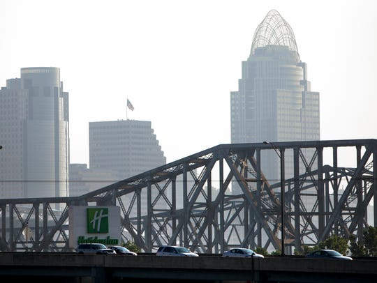Cars pass through the Brent Spence Bridge on I-71/I-75,