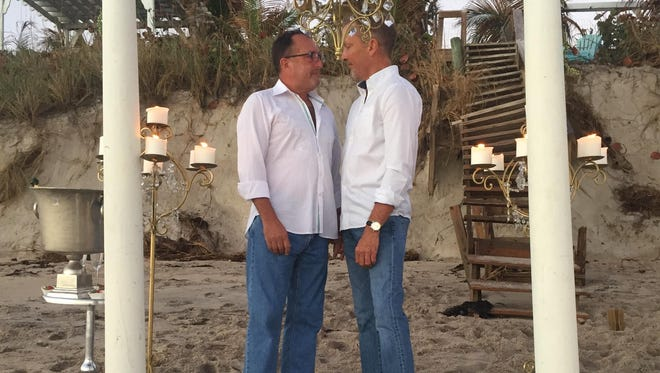 Scott Earick and Hank Hutson were married on the beach Thanksgiving weekend.