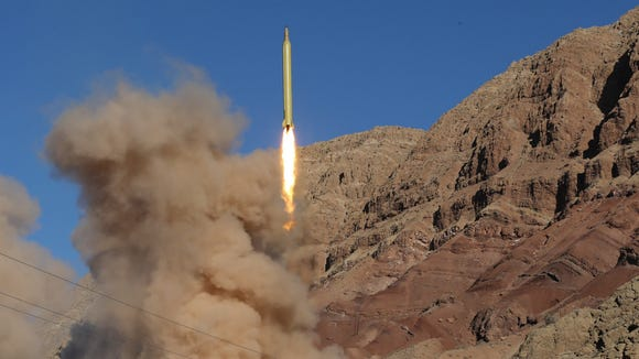 A long-range Qadr ballistic missile is launched in the Alborz mountain range in northern Iran on March 9, 2016. Iran said its armed forces had fired two more ballistic missiles as it continued tests in defiance of U.S. warnings.