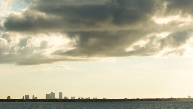 The city skyline of downtown Tampa can be seen in the early morning of Sept. 29, 2016.
