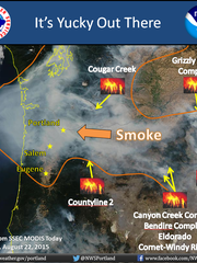This map from the National Weather Service in Portland shows where the smoke is coming from across Oregon.