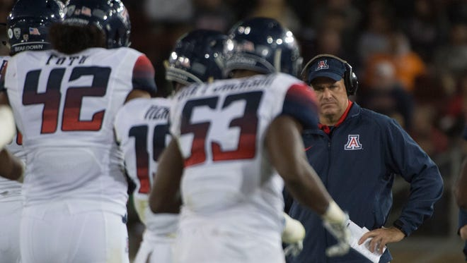 October 3, 2015; Stanford, Calif.; Arizona Wildcats coach Rich Rodriguez looks on against the Stanford Cardinal during the third quarter at Stanford Stadium. Stanford defeated Arizona 55-17.