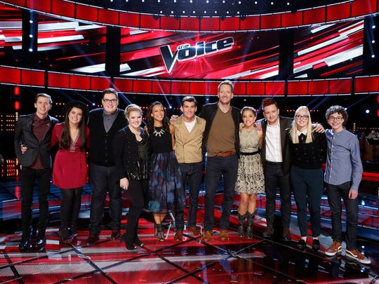 "The newly minted ""Top 11"" on ""The Voice"" includes (l-r) Evan McKeel, Madi Davis, Jordan Smith, Shelby Brown, Amy Vachal, Zach Seabaugh, Barrett Baber, Emily Ann Roberts, Jeffery Austin, Korin Bukowski and Braiden Sunshine."