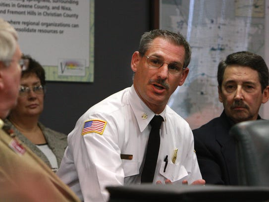 David Hall, co-interim fire chief, answers questions