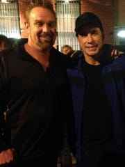 "Chris Hahn with actor John Travolta on the set of ""Criminal"