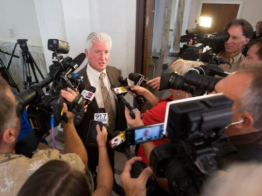 Defense attorney Stew Mathews talks with the media following the dismissal of voluntary manslaughter and murder charges against Ray Tensing Monday, July 24. Tensing is a former University of Cincinnati police officer who was charged with murdering Sam DuBose during a routine traffic stop on July 19, 2015. During two trials, jurors were unable to reach a verdict. Hamilton County Common Pleas Judge Ghiz formally dismissed the charges, but denied Mathews request for a full acquittal.