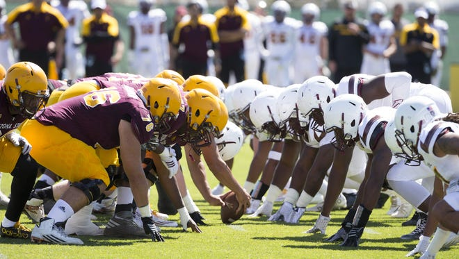 The Sun Devils line up during the final spring practice at the Sun Devil Soccer Stadium in Tempe on Saturday.