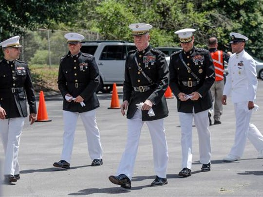 Marine dignitaries arrive for the funeral for U.S.