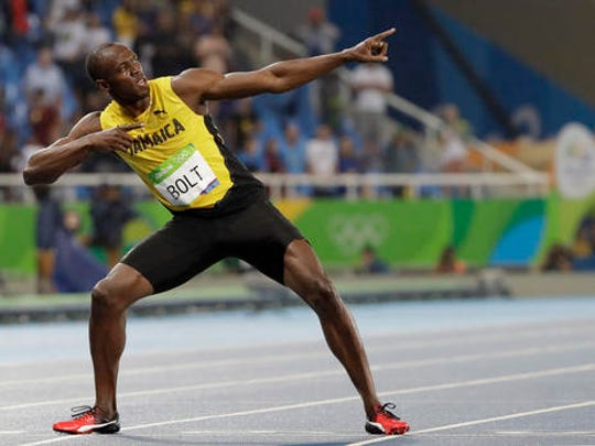 "FILE - In this Aug. 18, 2016, file photo, Usain Bolt, from Jamaica, celebrates winning the gold medal in the men's 200-meter final during the athletics competitions of the 2016 Summer Olympics at the Olympic stadium in Rio de Janeiro, Brazil. Bolt is starring in a new documentary about his path to the Rio Olympics, and the triple-triple, though he stops short of considering himself an actor, for now. The Jamaican star's film ""I Am Bolt"" is released on Monday, Nov. 28, 2016, showing what he hopes is a more complete picture of how he became a nine-time Olympic champion."