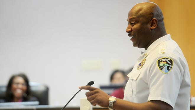Shreveport Police Chief Willie Shaw speaking at a city council meeting Tuesday, Feb. 10, 2015.