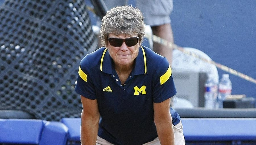 We know how many wins coach Carol Hutchins has with the Wolverines. We're slightly worse at tracking the times we've run a photo of her coaching on the field.