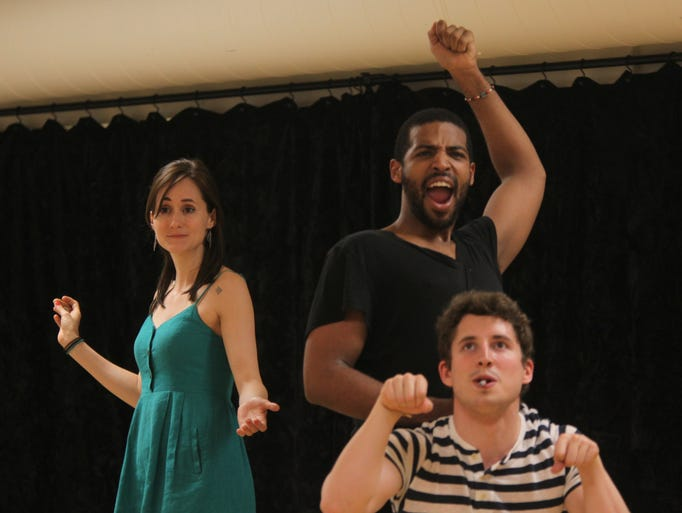 From left, Magan Wiles, Cameron Jamarr Davis and Oliver Lehne rehearse scenes from Two Gentlemen of Verona for the Hudson Valley Shakespeare Festival at Snapple Theater in Manhattan on May 23, 2014.