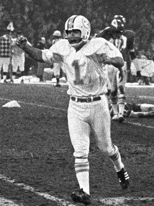 Garo Yepremian celebrates his winning field goal that ended the longest game in NFL history.