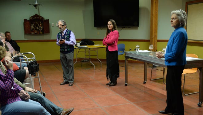 Fort Collins legislators Sen. John Kefalas and Reps. Jeni Arndt and Joann Ginal answer questions at New Belgium on Monday, December 21, 2015. Arndt and Ginal both want to replace Kefalas in the Senate following his election to the Larimer County Commission.