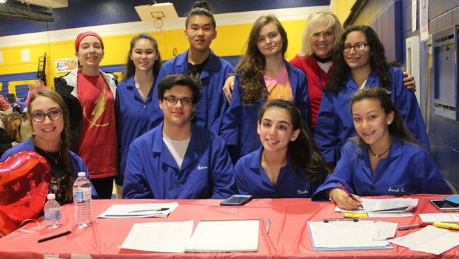 Students from the HOSA (Health Occupations Students of America) Club and the Health Occupations Program at Somerset County Vocational & Technical High School in Bridgewater gathered for a picture at the 2018 Blood Drive. (Back, left to right) Rebeka Quagliato of South Bound Brook, Jenna Molfetta of Bound Brook, Ramon You of Somerset, Christine Starozytnyk of South Bound Brook, Health Occupations Instructor Kim Vasaturo, Carolyn Romero of Bound Brook, (front, left to right) Sam Shephard of Hillsborough, Brian Coletta of Green Brook, Nicole VanderWal of Hillsborough and Sarah Castro of Raritan.