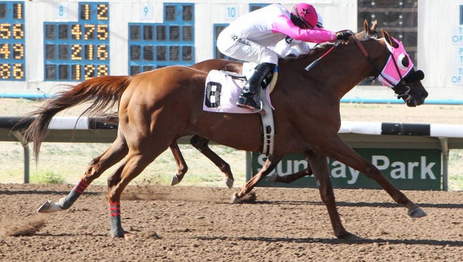 Big Tall Paul, ridden by Alejandro Medellin, just gets past Overland Park (hidden) in the shadow of the finish line to score a 12-to-1 upset in today's $34,400 SunRay Park and Casino Handicap in Farmington.