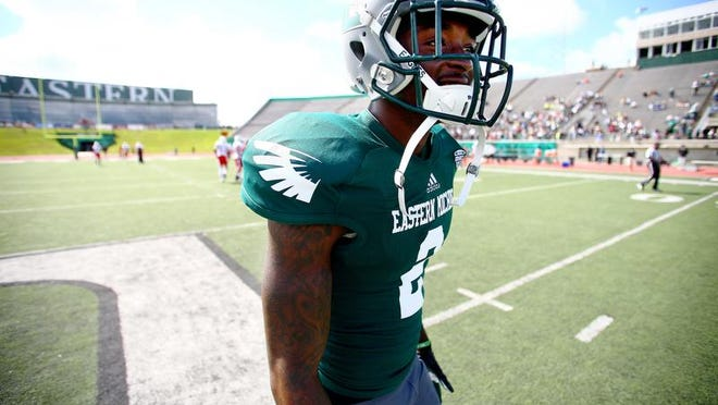 Demarius Reed is photographed on the field at Eastern Michigan University in Ypsianti before the game against Ball State in the fall of 2013. Picture taken by Jonathan Knight. MANDATORY CREDIT. The photographer's email is: jknightphoto4@me.com