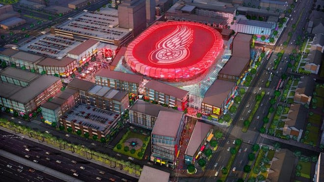 The new Detroit arena concept is shown from above. Detroit's new arena and entertainment district will be overseen by the Ilitch family's Olympia Development.