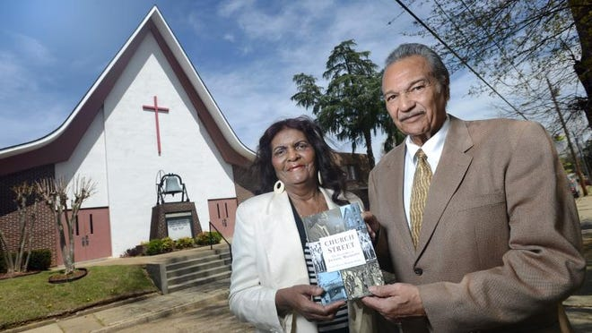 """Grace Sweet and Benjamin Bradley have partnered to author """"Church Street: The Sugar Hill of Jackson, Mississippi."""" They are pictured outside Mount Helm Baptist Church, a long-time Church Street landmark."""