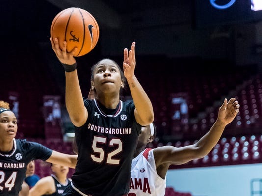 South Carolina guard Tyasha Harris (52) gets free for a shot against Alabama during an NCAA college basketball game Thursday, Feb. 8, 2018, at Coleman Coliseum in Tuscaloosa, Ala. (Vasha Hunt/AL.com via AP)